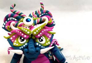 "Polymer Clay Dragon ""Lanying"" by Katie Oskin of KatersAcres 