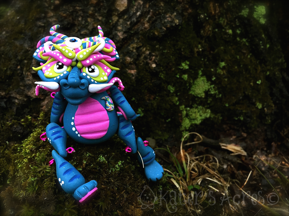 """Polymer Clay Dragon """"Lanying"""" by Katie Oskin of KatersAcres 