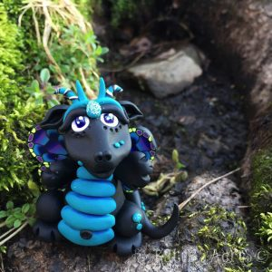 Polymer Clay Dragon, Glowfly made by Katie Oskin of KatersAcres| Week 16 for #2015PCChallenge by KatersAcres | Handmade collectible dragons