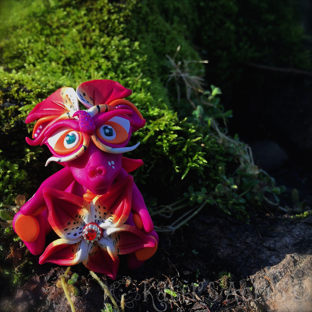 """Polymer Clay Dragon """"Lily"""" Handmade in NW Pennsylvania by Katie Oskin of KatersAcres   Week 15 for the #2015PCChallenge"""
