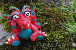 Handmade, Polymer Clay Dragon, Eye-Lene by Katie Oskin of KatersAcres