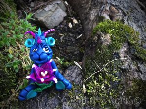 Handmade, Polymer Clay Dragon, Azul by Katie Oskin of KatersAcres