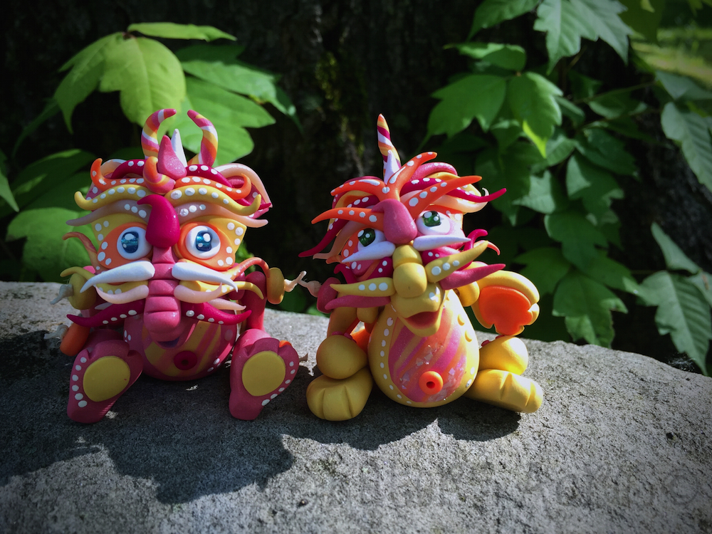 """""""Summer"""" & """"Fun"""" Chinese Inspired Articulated Polymer Clay Dragon Collectible by KatersAcres"""