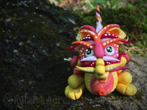"""""""Summer"""" Chinese Inspired Articulated Polymer Clay Dragon Collectible by KatersAcres"""