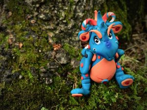 Handmade polymer clay dragon, Bleu by KatersAcres   Made for the #2015PCChallenge, available for adoption on Etsy