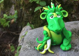 Handmade polymer clay dragon, Evie by KatersAcres   Made for the #2015PCChallenge, available for adoption on Etsy