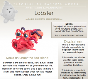 Polymer Clay LOBSTER Tutorial PREVIEW PDF by KatersAcres