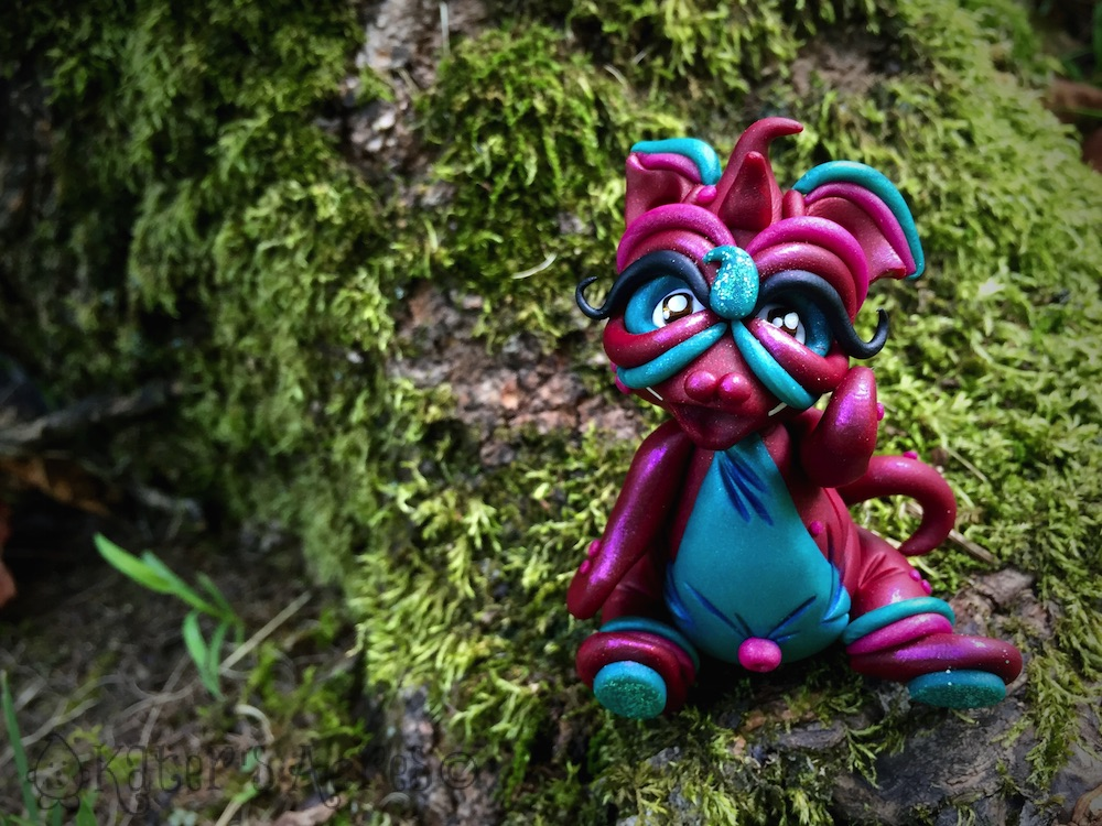 Polymer Clay Dragon BURGI by Katie Oskin of KatersAcres