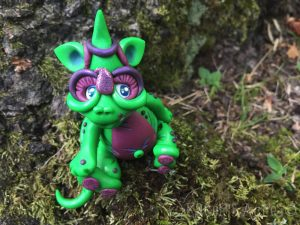 """Polymer Clay Dragon """"Precious"""" by Katie Oskin of KatersAcres, Ready for Adoption on Etsy"""