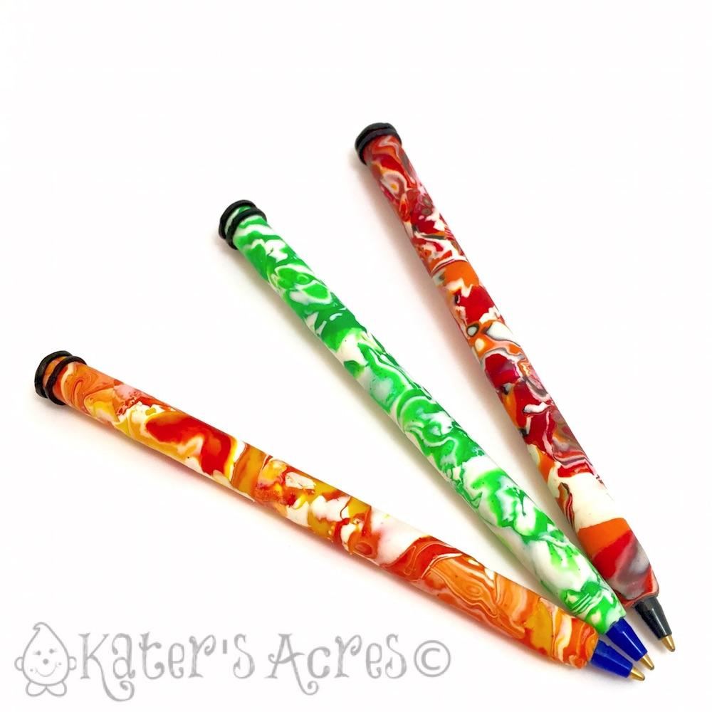 Polymer Clay Mokume Gane Pens by KatersAcres