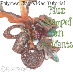 Polymer Clay Stamped Faux Coin Pendants | September VIDEO Tutorial for Parker's Clayful Tutorials Club Members