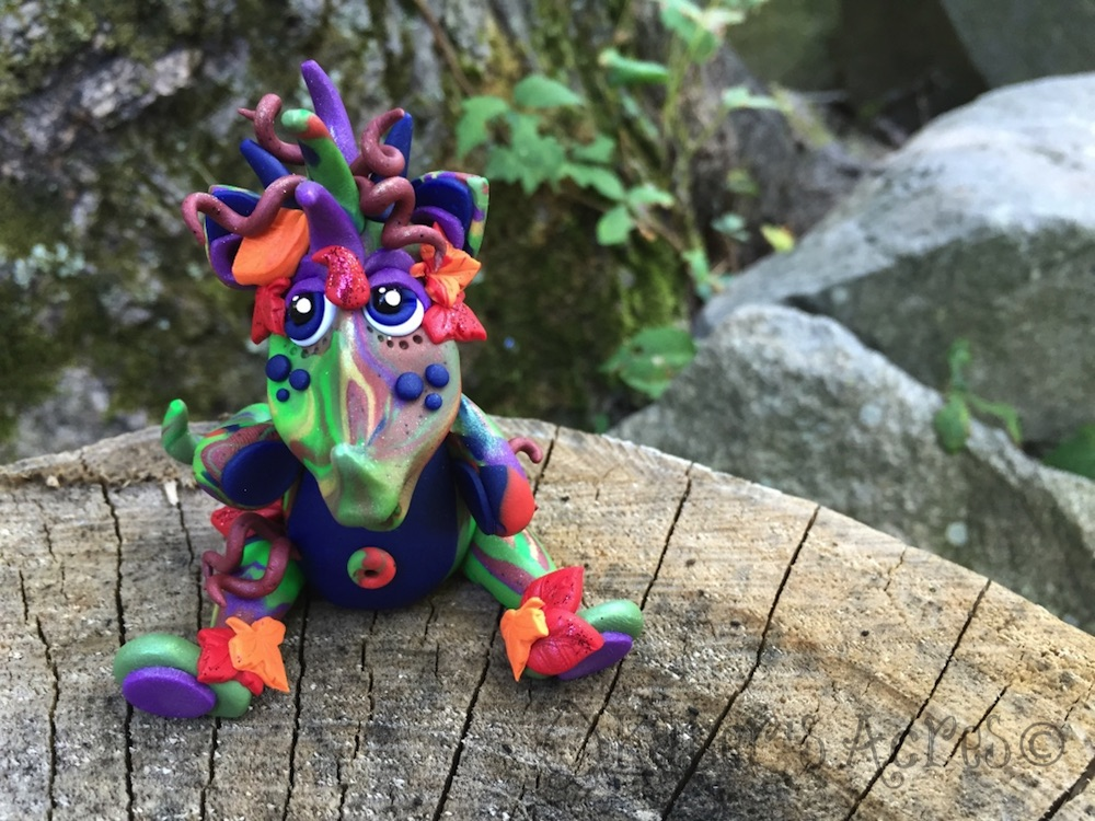 Polymer Clay Dragon AUTUMN by Katie Oskin of KatersAcres