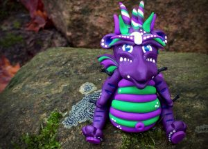 """Polymer Clay Dragon """"Grapette"""" by Katie Oskin of KatersAcres, Ready for Adoption on Etsy"""