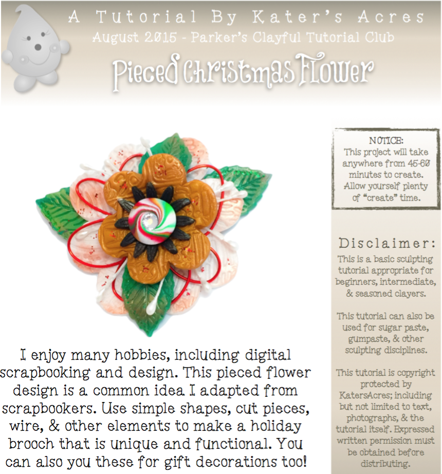 Polymer Clay Pieced Holiday Flower Tutorial by KatersAcres - PREVIEW