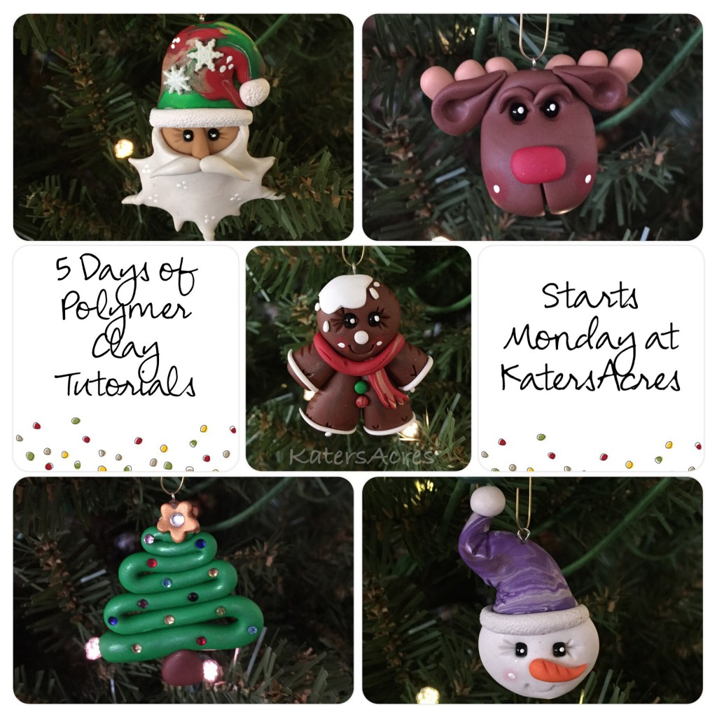5 Days of Ornaments - FREE Polymer Clay Tutorials for Christmas by KatersAcres | CLICK to get the FREE projects starting on Day One