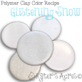Polymer Clay Color Recipe for Glistening Snow by KatersAcres | CLICK for more FREE polymer clay color recipes