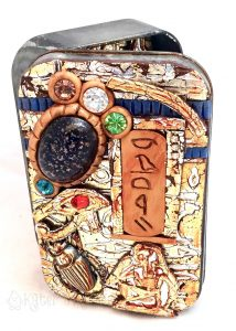 Ancient Egyptian Tin Shrine from Laurie Mika's Class, PCA 2016 Made by Katie Oskin of KatersAcres