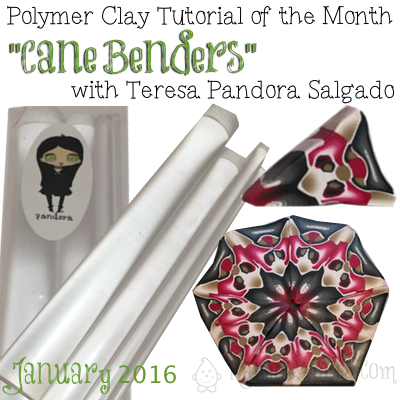 Polymer Clay Tutorial of the Month, Cane Benders with Teresa Pandora Salgado - January 2016 | Get MORE polymer clay tutorials at KatersAcres.com