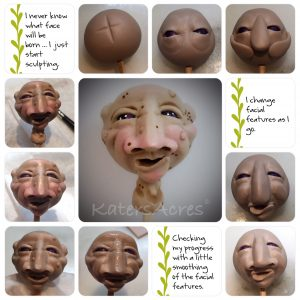 Hand sculpted polymer clay face, ELMER, by Katie Oskin of KatersAcres