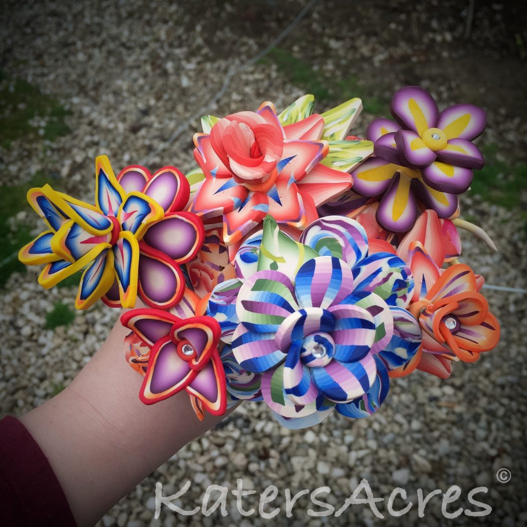 The making of caned polymer clay flowers katersacres the making of long stemmed caned polymer clay flowers bouquet by katersacres izmirmasajfo Images