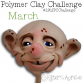 "March Polymer Clay Fantasy FACE, ""Edgar"" by Katie Oskin of KatersAcres #2016CChallenge"