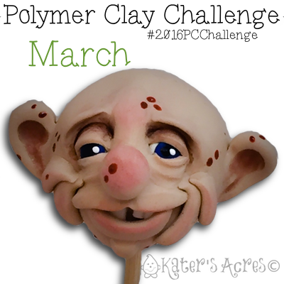 "March Polymer Clay Fantasy FACE, ""Edgar"" by Katie Oskin of KatersAcres"