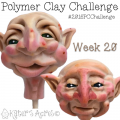 2016 Polymer Clay Challenge, Week 20 Polymer Clay Face Sculptures by KatersAcres