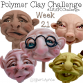 2016 Polymer Clay Challenge, Week 21 Polymer Clay Face Sculptures by KatersAcres