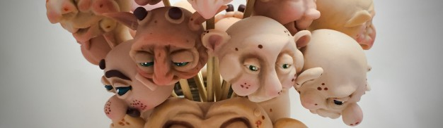 Face Vase by KatersAcres | Filled with custom sculpted faces made from polymer clay