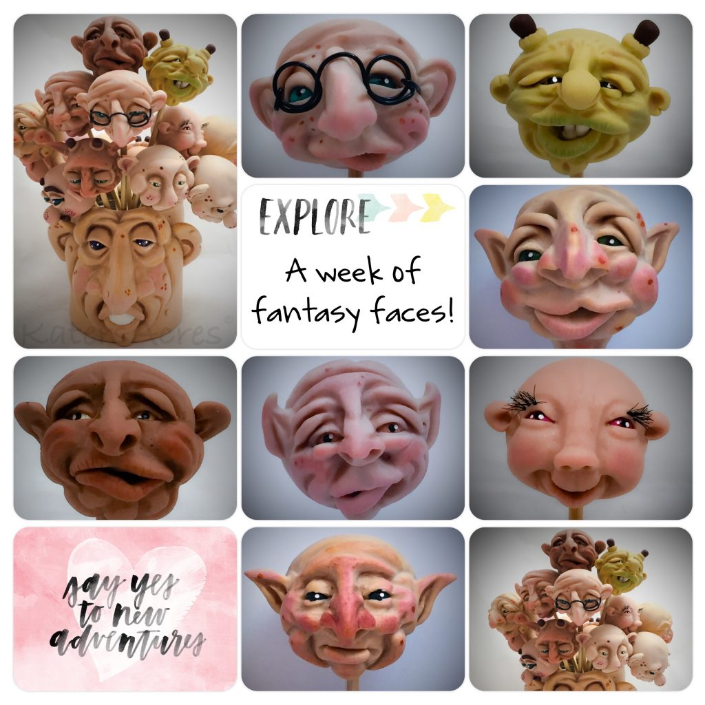 A Week of Polymer Clay Face Sculptures by Katie Oskin of KatersAcres