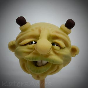 Ogre Polymer Clay Face Sculpture by Katie Oskin of KatersAcres