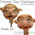 Old Man & Old Lady Sculpted Faces - Week 24 of the #2016PCChallenge by KatersAcres