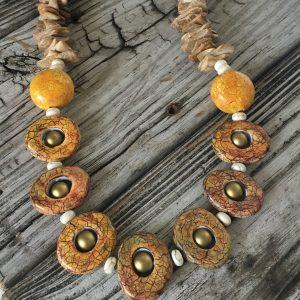 Woodland Raku Necklace by Shannon Tabor