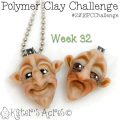 2016 Polymer Clay Challenge - Week 32, Face Spoon Sculpture Pendants by Katie Oskin