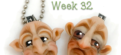 2016 Polymer Clay Challenge - Week 32, Face Spoon Sculpture Pendants by Katie Oskin