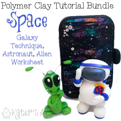 Polymer Clay SPACE Themed Tutorials Bundle Pack - Includes Galaxy Technique, Travel Galaxy Paint Tin, Alien Worksheet, Astronaut Project by KatersAcres | REPIN NOW, Buy Later