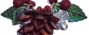 Polymer Clay Winter Pendant: Pinecone, Leaves, & Berries by KatersAcres