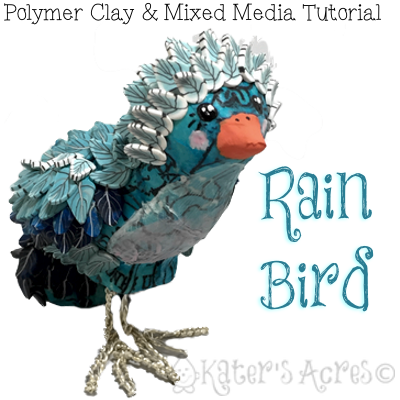 Polymer Clay RAIN BIRD Mixed Media Tutorial by KatersAcres