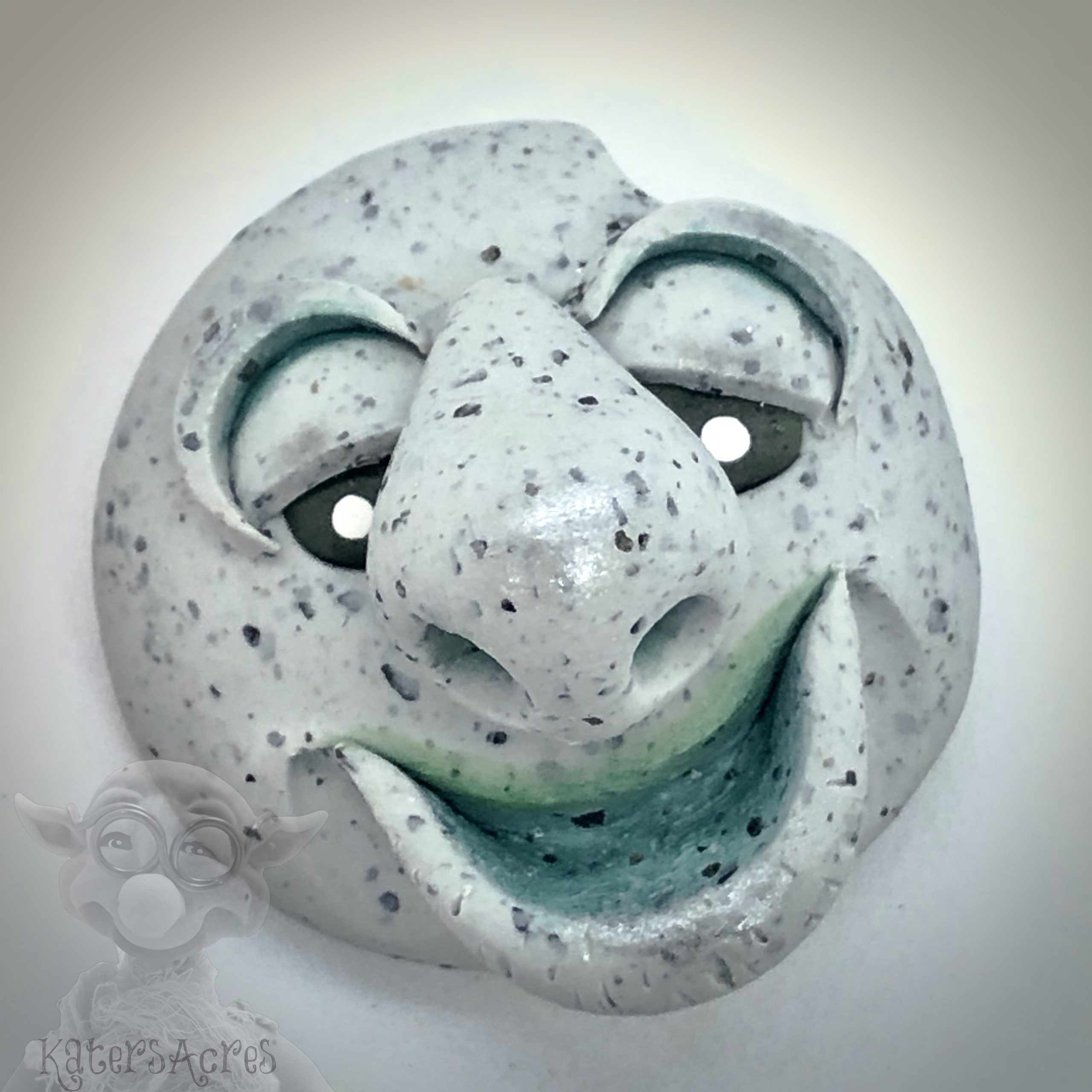 Polymer Clay Face Rock by Kater's Acres